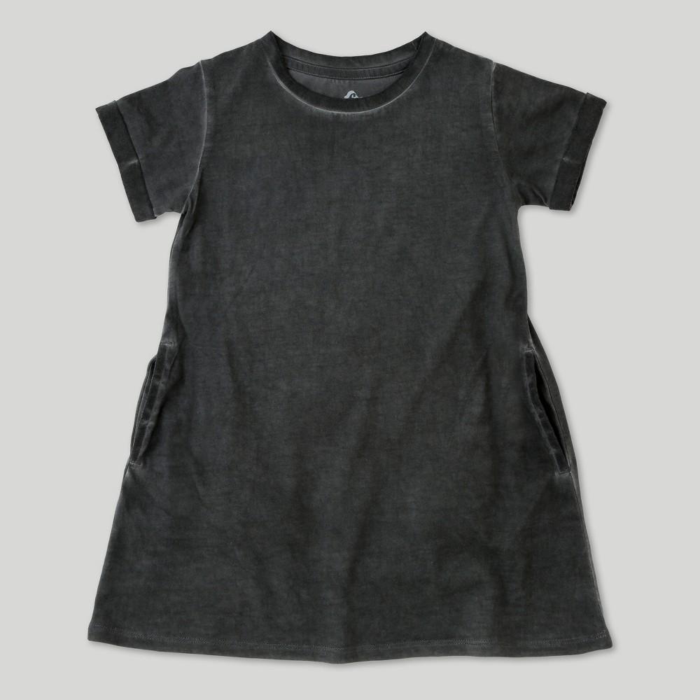 Image of petiteToddler Girls' Afton Street Short Sleeve Washed Dress - Charcoal - 12 Months, Girl's, Size: 12M, Black