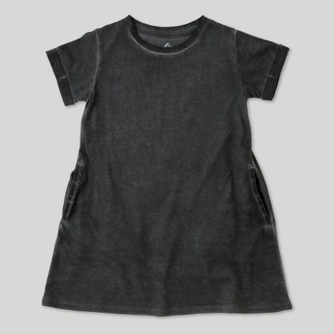 Toddler Girls' Afton Street Short Sleeve Washed Dress - Charcoal - image 1 of 2