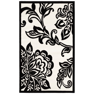 "4'8""x7'6"" Capri Floral Rug Black/White - Linon"
