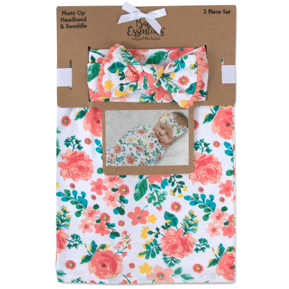 Image of Baby Essentials Coral Floral Swaddle Blanket and Headband