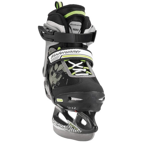 Rollerblade Bladerunner Micro Ice Junior Boys Youth Adjustable Skates, Small, Black and Green - image 1 of 3