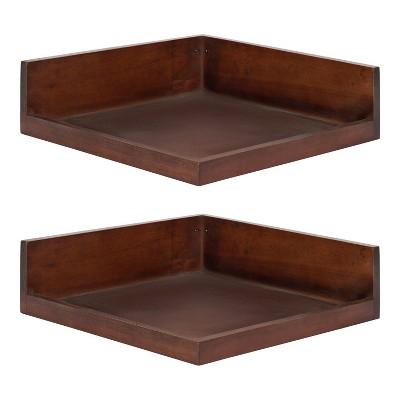 2pc Levie Floating Corner Wood Wall Shelf Set - Kate & Laurel All Things Decor