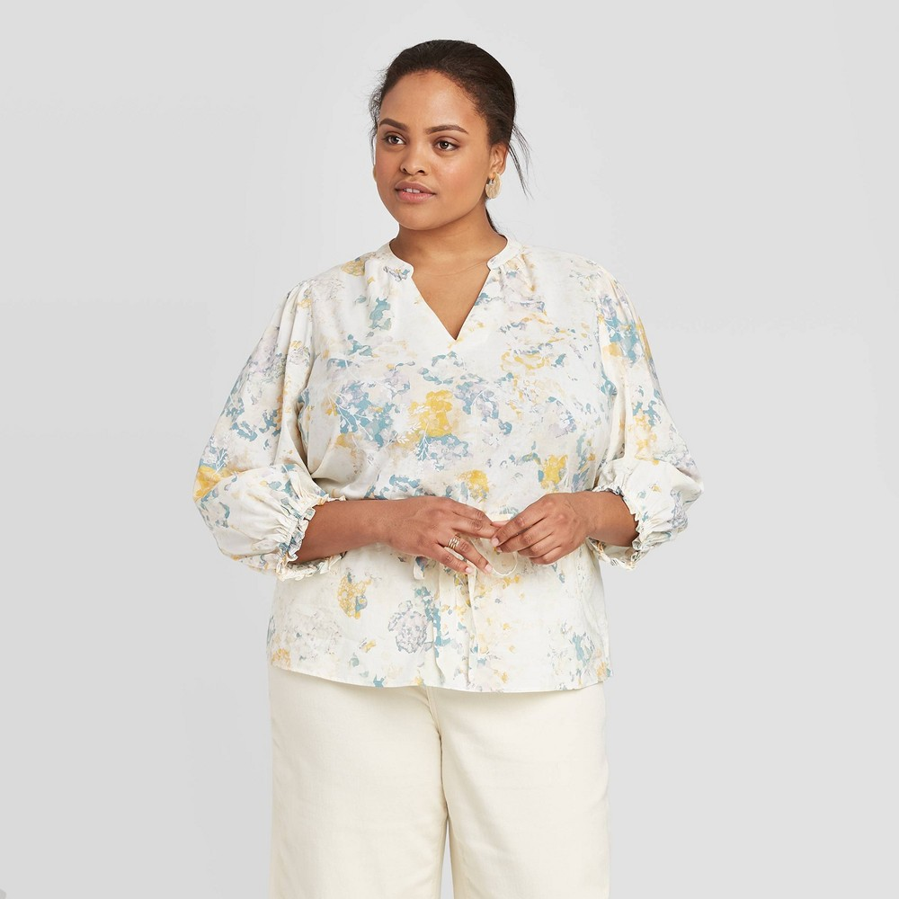 Women's Plus Size Floral Print 3/4 Sleeve Tie Waist Blouse - A New Day Cream 3X, Beige was $24.99 now $17.49 (30.0% off)