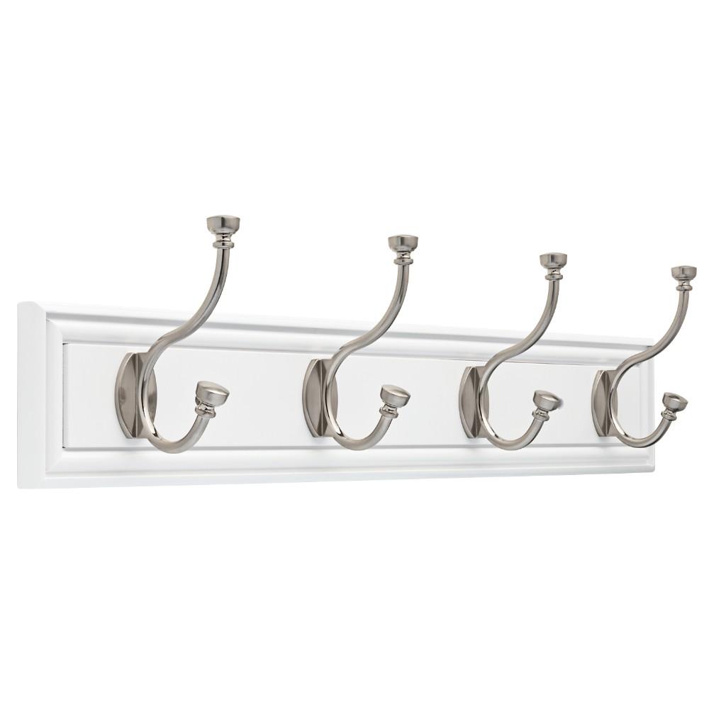 27 Hook Rail Elegant - White/Satin Nickel - Threshold