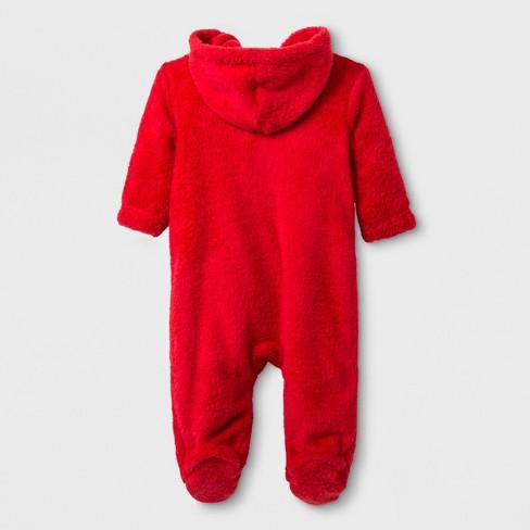 Baby Boys Sesame Street Elmo Hooded Romper Red Target