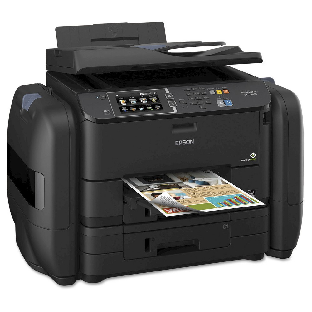 Epson WorkForce Pro WF-R4640 EcoTank Wireless All-in-One Printer Whether you use it at home, the office or at school, the Epson WorkForce Pro WF-R4640 EcoTank Wi-Fi All-in-One Printer - Black (EPSC11CE69201) allows you to print, fax, scan and copy with ease. The all-in-one printer is lightweight and prints professional black and white and color pages for your personal and professional projects. The printer even works wirelessly and can print with Apple AirPrint. Ink cartridges are sold separately.