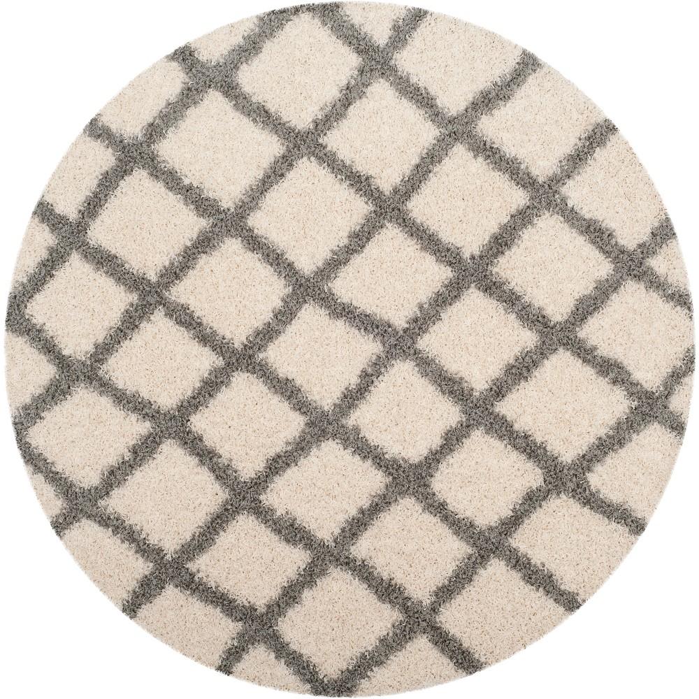 6' Geometric Loomed Round Area Rug Ivory/Gray - Safavieh