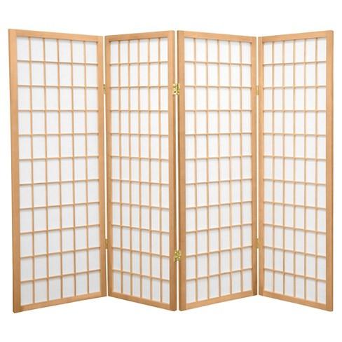 4 Ft Tall Window Pane Shoji Screen Natural 4 Panels Target
