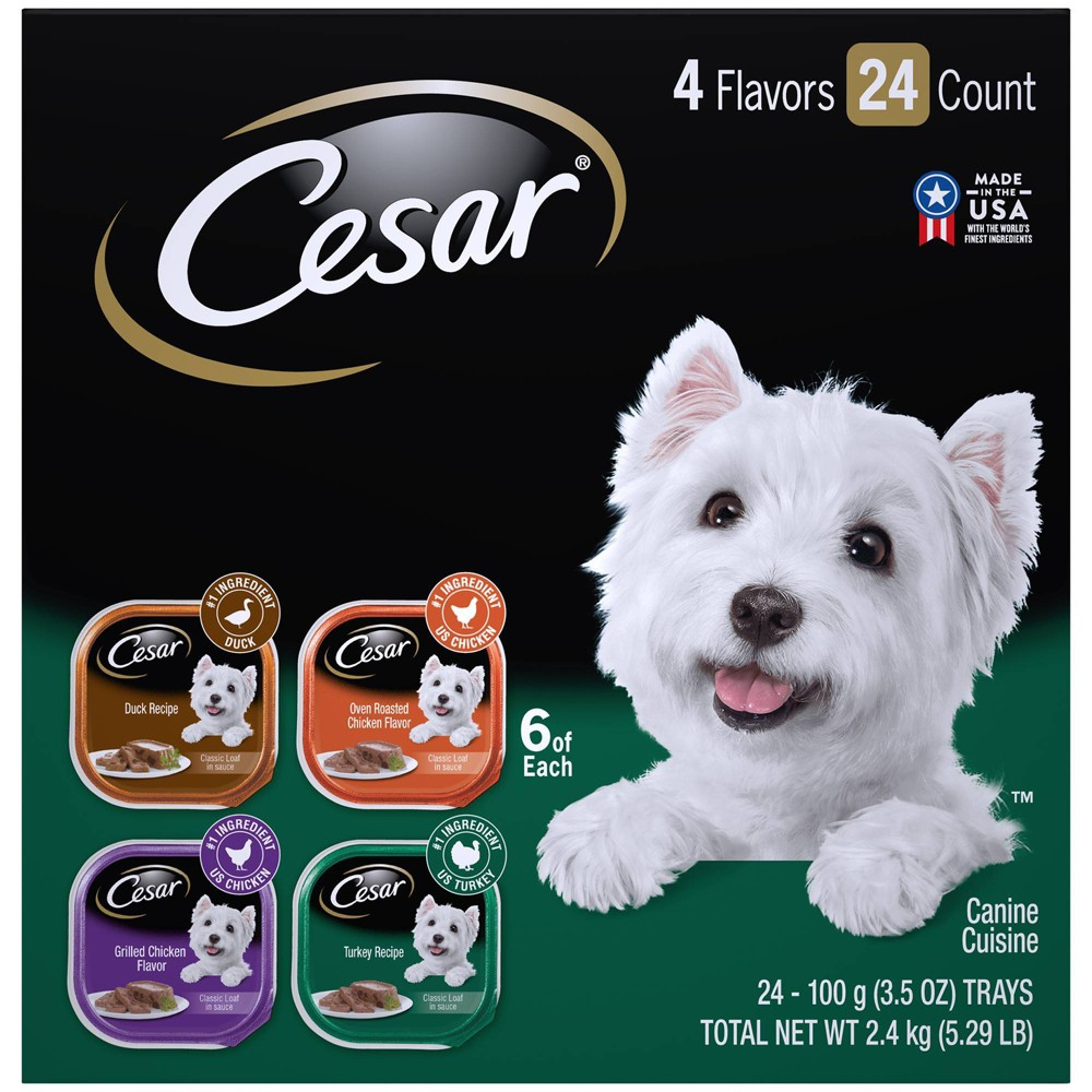 Cesar Classic Loaf in Sauce Wet Dog Food Duck Roasted Chicken Grilled Chicken & Turkey - 3.5oz/24ct Variety Pack Price
