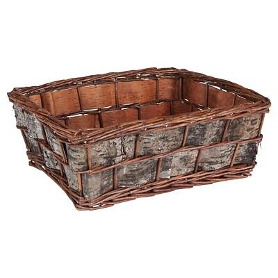 Household Essentials Birch Bark Decorative Wicker Basket Brown