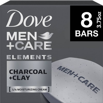 Dove Men+Care Elements Charcoal + Clay Body & Face Bar Soap - 3.75oz/8ct