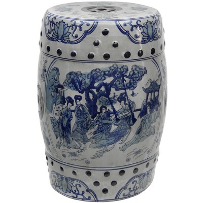 """18"""" Square Floral Blue And White Porcelain Garden Stool - Oriental Furniture"""
