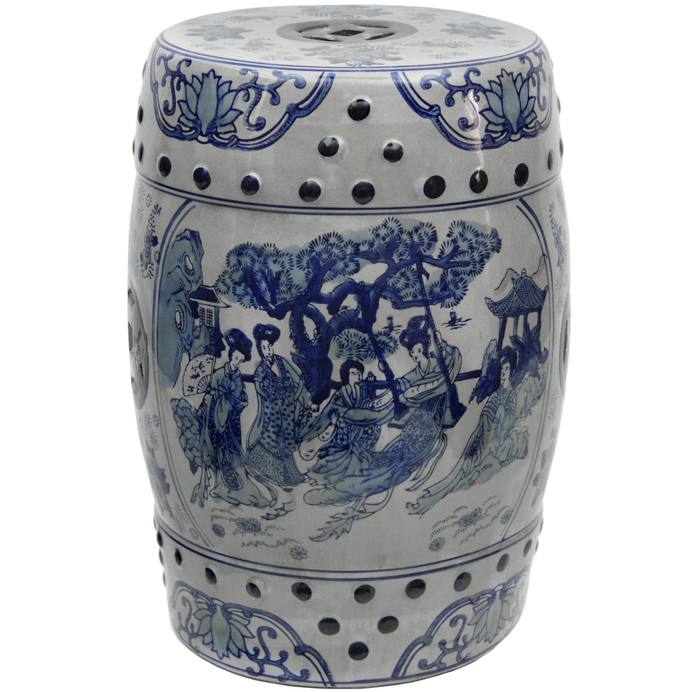 "Image of ""18"""" Square Floral Blue And White Porcelain Garden Stool - Oriental Furniture"""