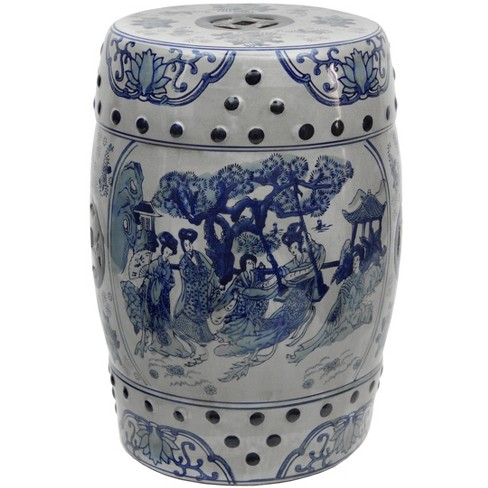 18 Square Fl Blue And White, Porcelain Garden Stools Chinese