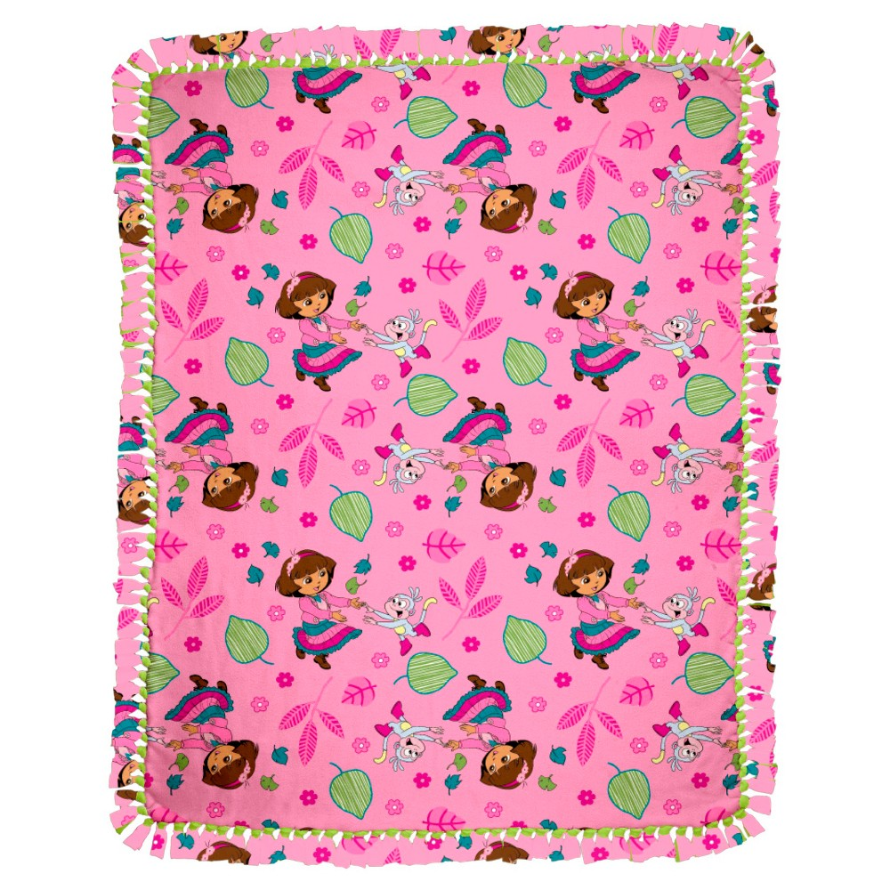 Image of Dora Fall Fun Micro Fleece Throw Kit, Pink