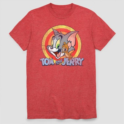 Men's Tom and Jerry Circle Short Sleeve Graphic Crewneck T-Shirt - Red