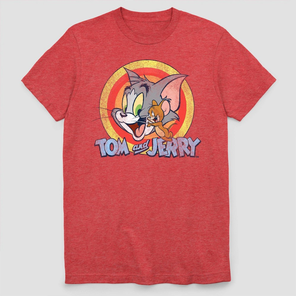 Men 39 S Tom And Jerry Circle Short Sleeve Graphic Crewneck T Shirt Red S