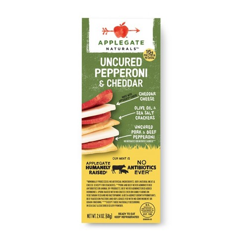 Applegate Natural Uncured Pork & Beef Pepperoni, Cheddar Cheese, & Cracker Snack - 2.4oz - image 1 of 1