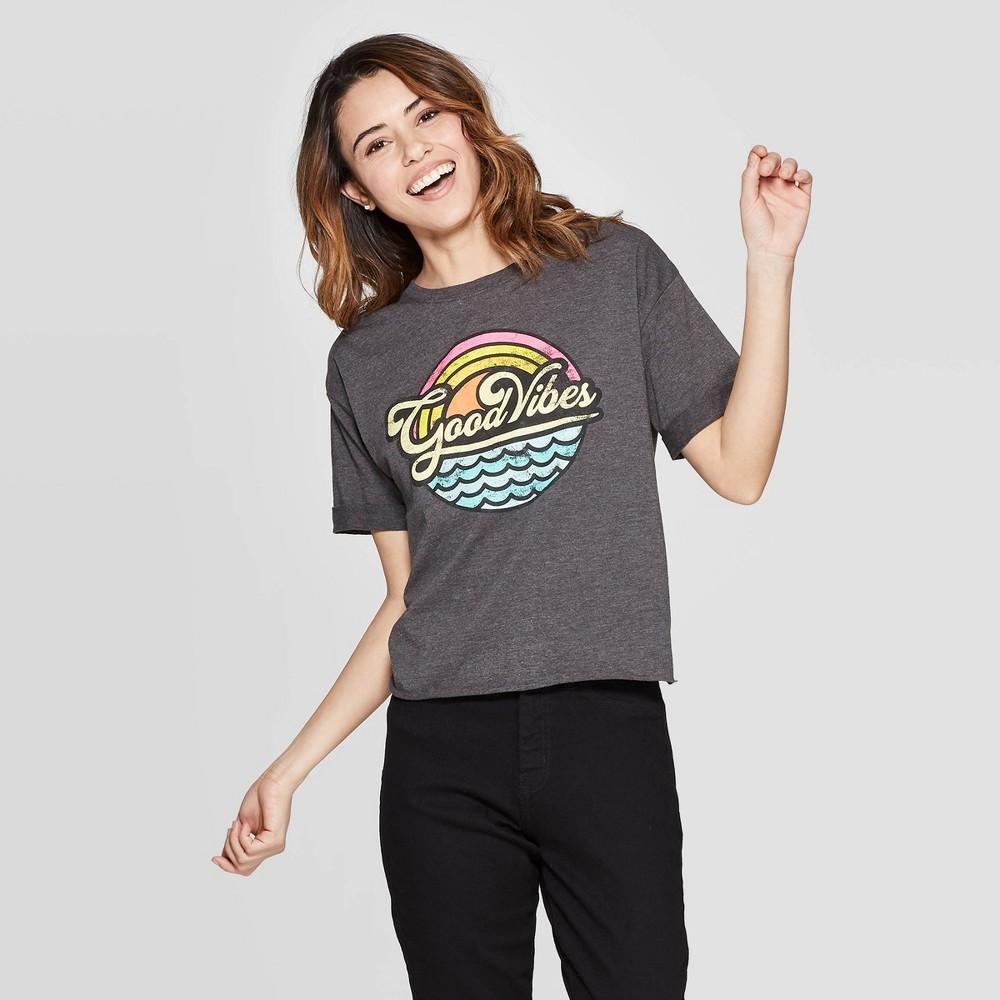 Women's Short Sleeve Good Vibes T-Shirt - Modern Lux (Juniors') - Gray L