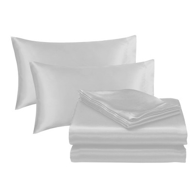 Queen Solid Satin Sheet Set Silver - Posh Home