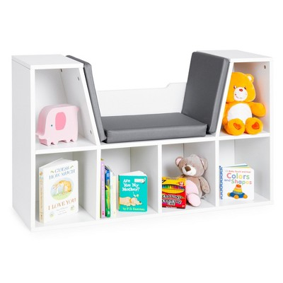 Best Choice Products 6-Cubby Kids Bedroom Storage Organizer, Multi-Purpose Bookcase w/ Cushioned Reading Nook