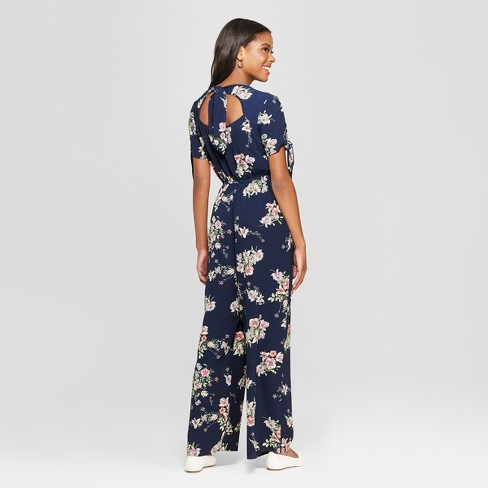 f6626d758903 Women s Floral Print Short Sleeve Tie Sleeve Wrap Jumpsuit - Xhilaration™  Navy M   Target