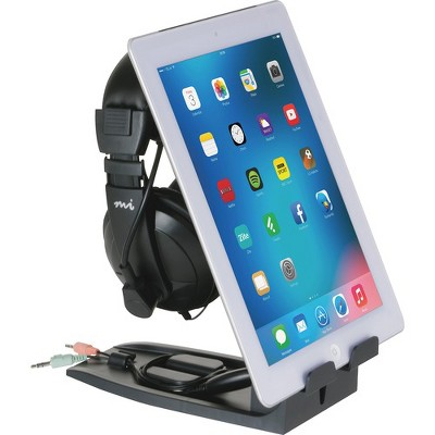"""Allsop Headset Hangout - Headset and Tablet Stand - 9.5"""" x 3.5"""" x 8"""" - 1 Each - Black"""
