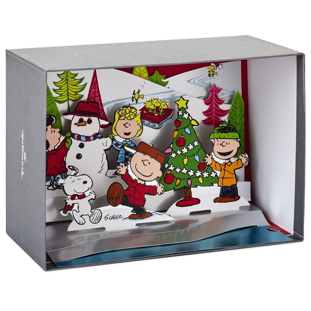 Image of 5ct Hallmark Peanuts Paper Craft Pop Up Winter Scene Greeting Cards