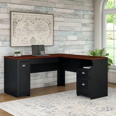Fairview L Shaped Desk Antique Black   Bush Furniture : Target