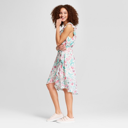 1f8ee7fdd980 Women's Floral Print Short Sleeve Ruffle Wrap Dress - A New Day ...