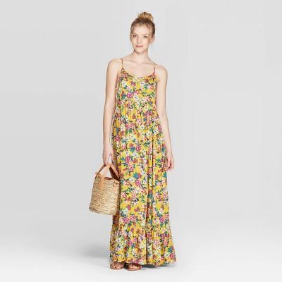 Women's Floral Print Strappy Scoop Neck Maxi Dress   Xhilaration by Xhilaration