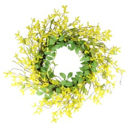 Northlight Yellow and Green Forsythia Flower and Twig Artificial Spring Wreath, 20-inch Unlit