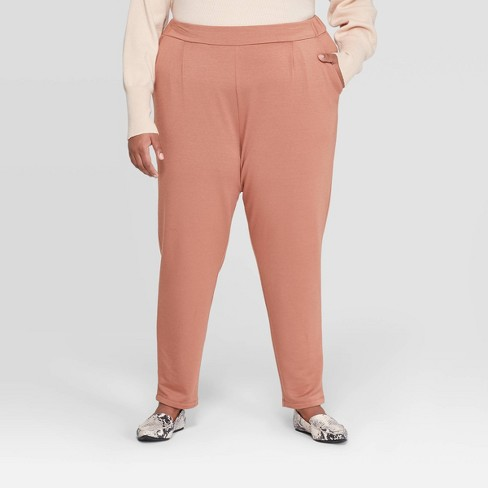 Women's Plus Size Mid-Rise Straight Fit French Terry Pants - A New Day™ - image 1 of 3
