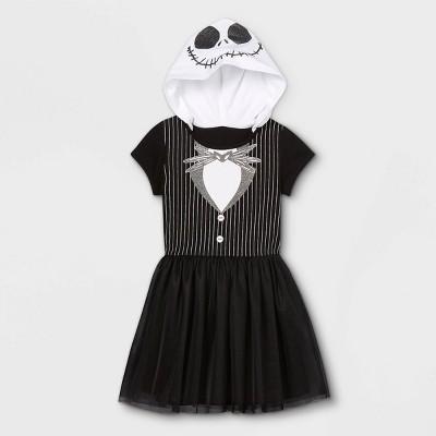 Girls' The Nightmare Before Christmas Jack Skellington Cosplay A-Line Dress - Black