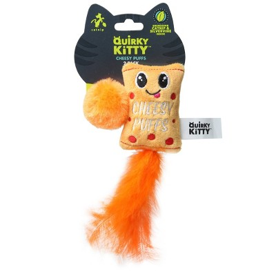 Quirky Kitty Cheesy Puffs Cat Toy - Orange - 2pk