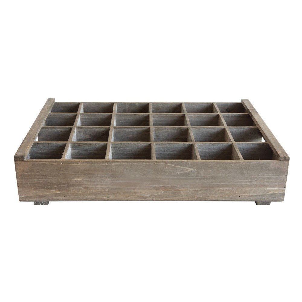 """Image of """"15.75"""""""" x 5"""""""" Wood Crate Storage With 24 Compartments Brown - 3R Studios, Light Brown"""""""