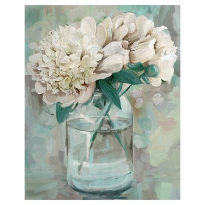 "16"" x 20"" Farmhouse Peonies II by Studio Arts Wrapped Unframed Wall Art Canvas - Fine Art Canvas"