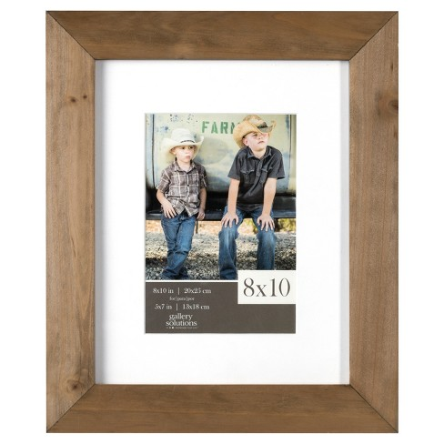 Single Image Frame Wood Gallery With White Mat 5x7 Rustic Target