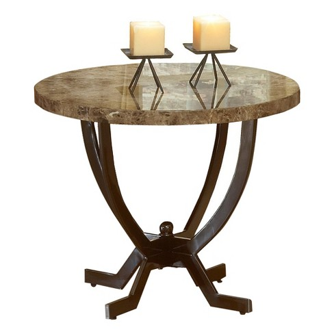 Monaco Metal Marble Round End Table Matte Espresso Hilale Furniture