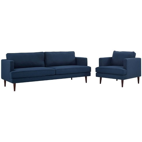 Agile Upholstered Fabric Sofa and Armchair Set - Modway - image 1 of 4