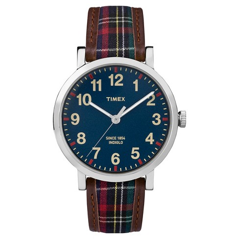 Timex Originals Watch with Plaid Strap - Silver/Blue TW2P695002B - image 1 of 1