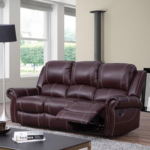 3pc Lorenzo Top Grain Leather Reclining Sofa Set Burgundy - Abbyson Living
