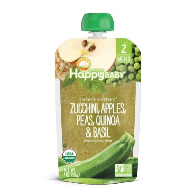 HappyBaby Clearly Crafted Zucchini Apples Peas Quinoa & Basil Baby Food Pouch - 4oz