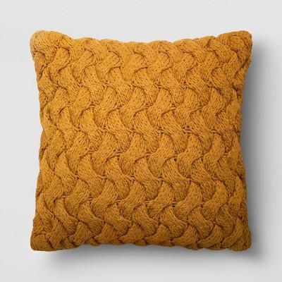 "18""x18"" Square Chunky Knit Throw Pillow Mustard - Threshold™"