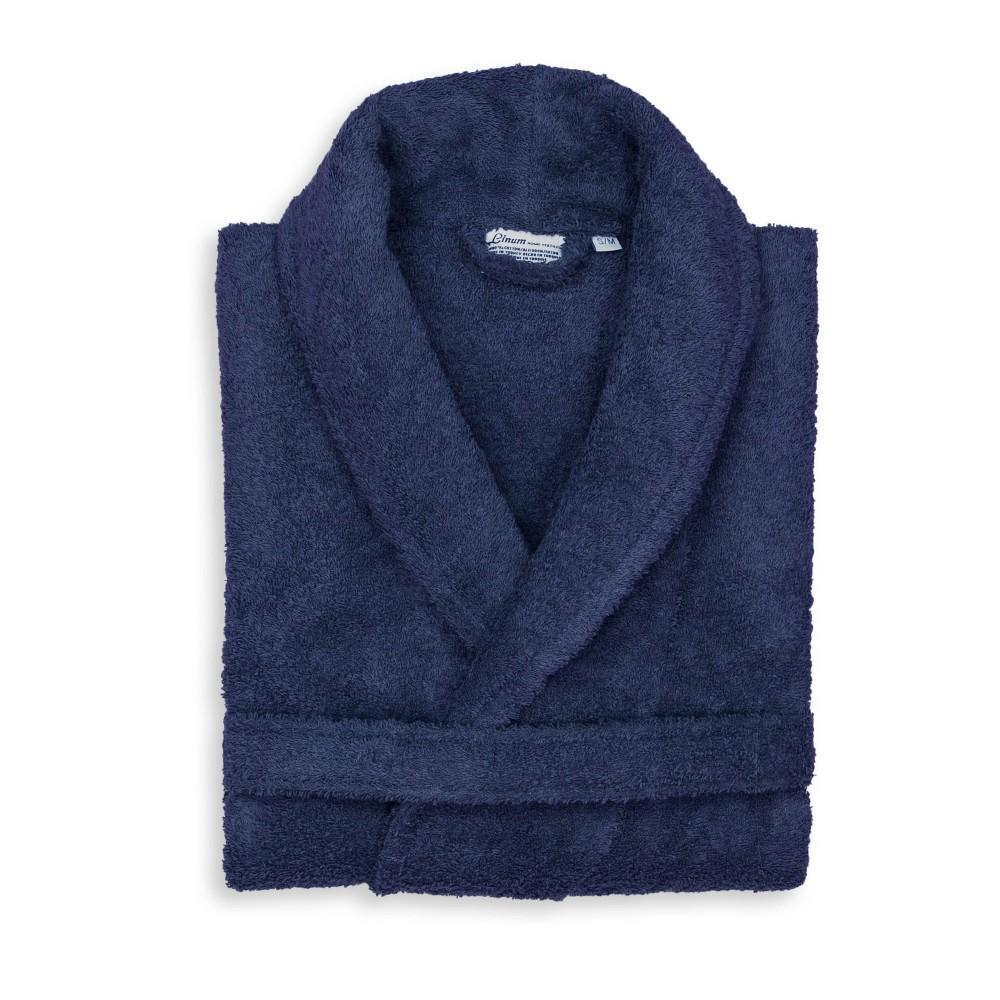 Terry Cloth Solid Bathrobe Navy Linum Home Textiles