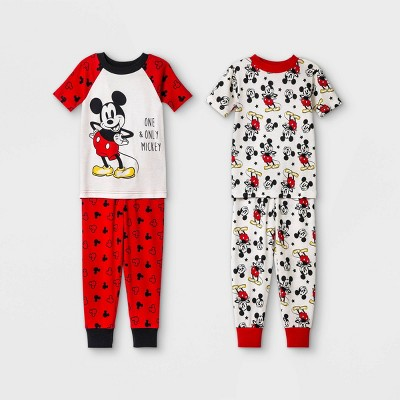 Toddler Boys' 4pc Mickey Mouse Pajama Set - Red