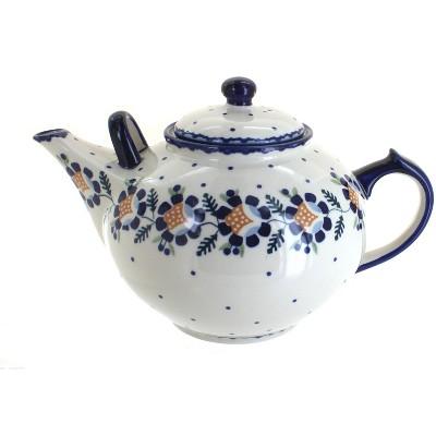 Blue Rose Polish Pottery Sunflower Large Teapot