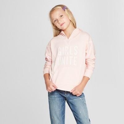 Grayson Social Girls' 'Girls Unite' Hoodie - Light Pink L
