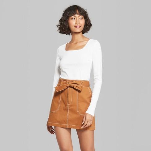 02741e0ab5490 Women s Long Sleeve Square Neck T-Shirt - Wild Fable™ Fresh White ...