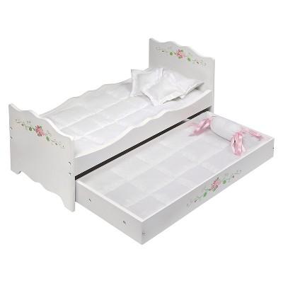 Badger Basket White Rose Doll Bed with Trundle
